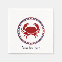 Nautical red crab and grey stripes with text napkin