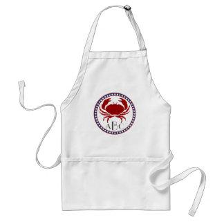 Nautical red crab and monogram adult apron