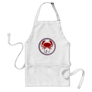 Nautical red crab and monogram apron