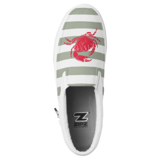 Nautical Red Crab | Olive Green & White Stripe Printed Shoes