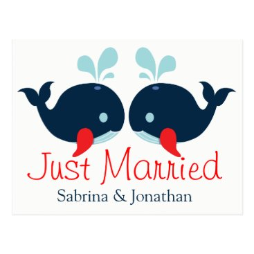 Beach Themed Nautical Red Just Married Wedding Navy Blue Whales Postcard