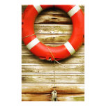 Nautical Red Life Ring Personalized Stationery