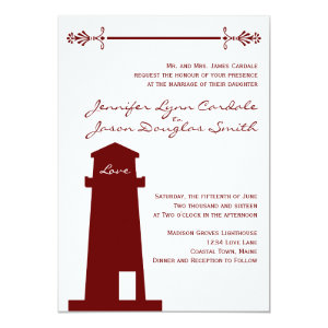 Nautical Red Lighthouse Beach Wedding Invitations 5