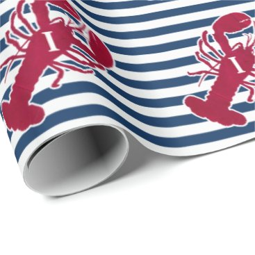 Beach Themed Nautical Red Lobster | Blue and White Stripe | I Wrapping Paper