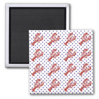 Nautical Red Lobster & Blue Dots 2 Inch Square Magnet