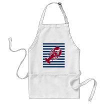 Nautical Red Lobster Monogram Blue White Stripe Adult Apron