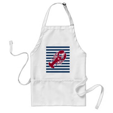 Beach Themed Nautical Red Lobster Monogram Blue White Stripe Adult Apron