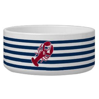 Nautical Red Lobster Monogram Blue White Stripe Bowl