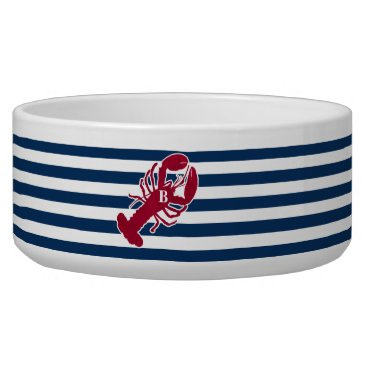 Beach Themed Nautical Red Lobster Monogram Blue White Stripe Bowl