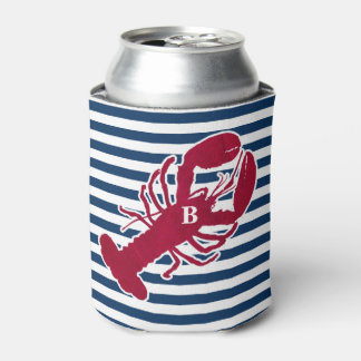 Nautical Red Lobster Monogram Blue White Stripe Can Cooler