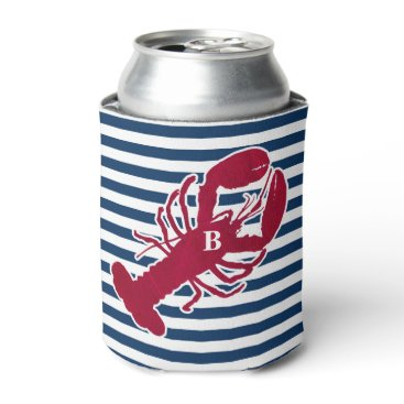 Beach Themed Nautical Red Lobster Monogram Blue White Stripe Can Cooler