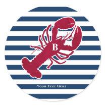 Nautical Red Lobster Monogram Blue White Stripe Classic Round Sticker