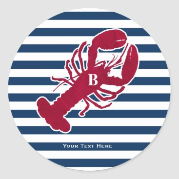 Beach Themed Nautical Red Lobster Monogram Blue White Stripe Classic Round Sticker