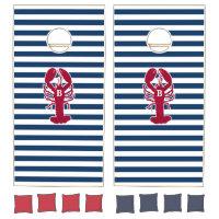 Nautical Red Lobster Monogram Blue White Stripe Cornhole Set
