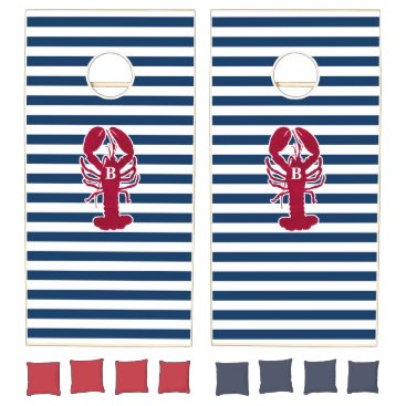 Beach Themed Nautical Red Lobster Monogram Blue White Stripe Cornhole Set