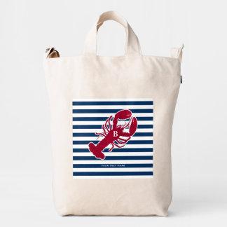 Nautical Red Lobster Monogram Blue White Stripe Duck Bag