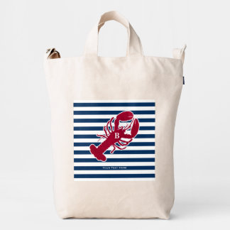 Nautical Red Lobster Monogram Blue White Stripe Duck Canvas Bag