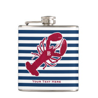Nautical Red Lobster Monogram Blue White Stripe Flask