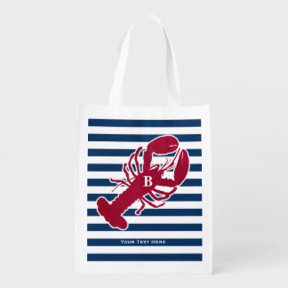 Nautical Red Lobster Monogram Blue White Stripe Grocery Bag