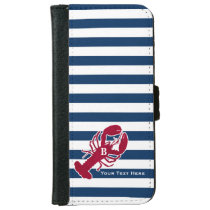 Nautical Red Lobster Monogram Blue White Stripe iPhone 6/6s Wallet Case