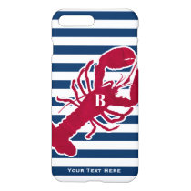 Nautical Red Lobster Monogram Blue White Stripe iPhone 7 Plus Case
