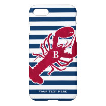 Nautical Red Lobster Monogram Blue White Stripe iPhone 8/7 Case