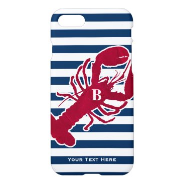 Beach Themed Nautical Red Lobster Monogram Blue White Stripe iPhone 8/7 Case