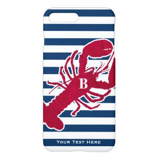 Nautical Red Lobster Monogram Blue White Stripe iPhone 8 Plus/7 Plus Case