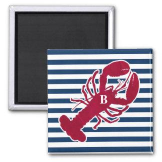 Nautical Red Lobster Monogram Blue White Stripe 2 Inch Square Magnet