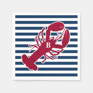 Nautical Red Lobster Monogram Blue White Stripe Napkin