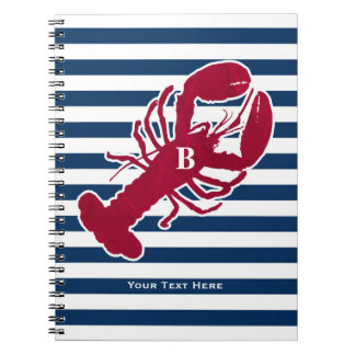 Nautical Red Lobster Monogram Blue White Stripe Notebook