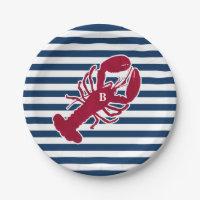 Nautical Red Lobster Monogram Blue White Stripe Paper Plate