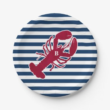 Beach Themed Nautical Red Lobster Monogram Blue White Stripe Paper Plate