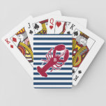 "Nautical Red Lobster Monogram Blue White Stripe Playing Cards<br><div class=""desc"">A Red Lobster with your monogram or text set on a navy blue and white striped background.  A perfect design for a beach or summer house by the ocean,  lobster bake on the shore,  reunions or just everyday living.  Click on the Colorfulgalshop logo below for more fun nautical designs.</div>"