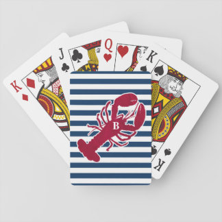 Nautical Red Lobster Monogram Blue White Stripe Playing Cards
