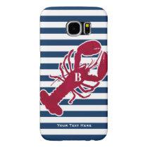 Nautical Red Lobster Monogram Blue White Stripe Samsung Galaxy S6 Case