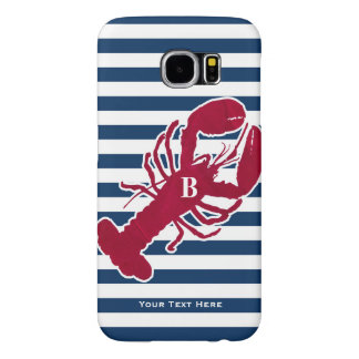 Nautical Red Lobster Monogram Blue White Stripe Samsung Galaxy S6 Case