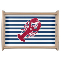 Nautical Red Lobster Monogram Blue White Stripe Serving Tray