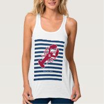 Nautical Red Lobster Monogram Blue White Stripe Tank Top