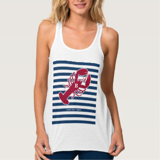 Nautical Red Lobster Monogram Blue White Stripe Tank Top at Zazzle