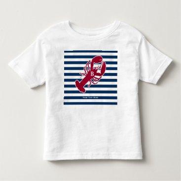 Beach Themed Nautical Red Lobster Monogram Blue White Stripe Toddler T-shirt