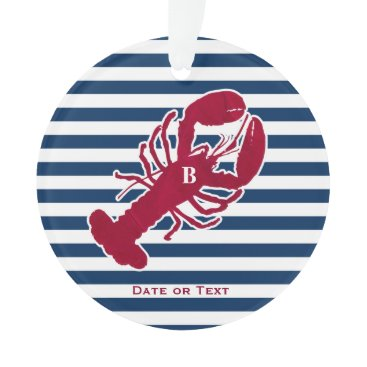 Beach Themed Nautical Red Lobster Monogram Striped Christmas Ornament