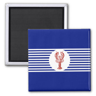 Nautical Red Lobster & Stripes 2 Inch Square Magnet