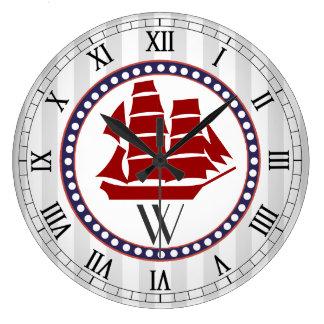 Nautical red sail ship and grey stripes monogram large clock