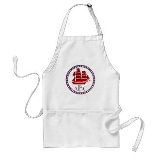 Nautical red sailing ship and monogram apron