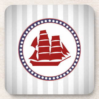 Nautical red ship coaster