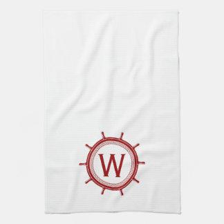 Nautical Red Ship Wheel on White Monogram Towel