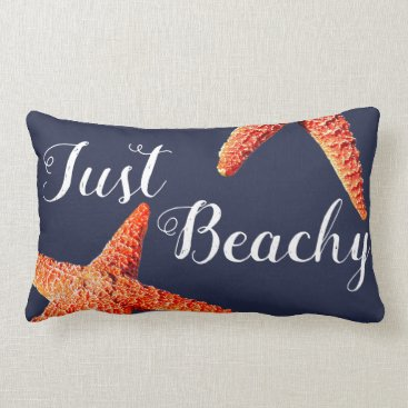 Beach Themed Nautical Red Starfish Just Beachy Script Lumbar Pillow
