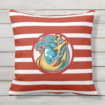 "Beach Themed Nautical Red Stripe Outdoor Pillow 20"" x 20"""