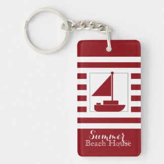 Nautical Red Stripe Sail Boat Keychain
